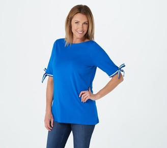 Belle By Kim Gravel Knit Top with Bow Sleeve Detail