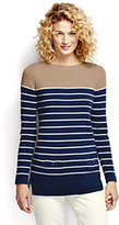 Lands' End Women's Petite Cotton Open Crewneck Tunic Sweater-Celestial Blue Stripe