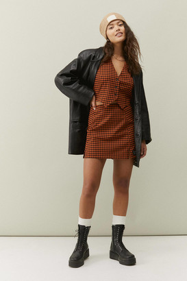Urban Outfitters Plaid Notched Mini Skirt