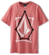 Volcom Stone Stence S/S Tee (Big Kids) (Pomegranate Heather) - Apparel