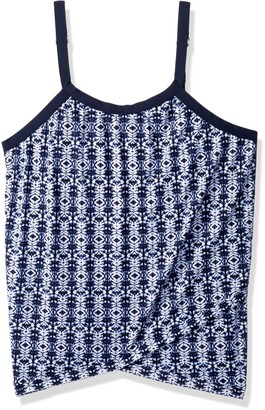 Shape Solver Women's Swimsuit Denim Weave Cross Over Hem Tankini-Plus Size