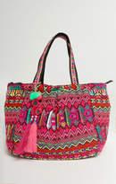 MUMU Scarley Woven Carryall Bag ~ Pink/Multi