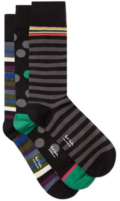 Paul Smith Pack Of Three Patterned Cotton-blend Socks - Black Multi