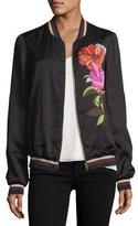Trina Turk Floral-Printed Satin Bomber Jacket