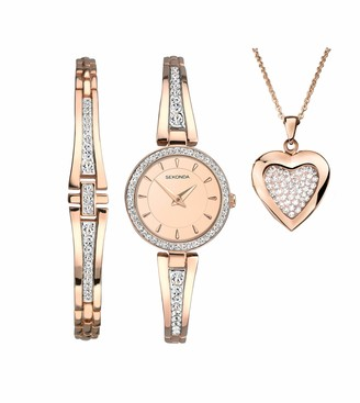 Sekonda Womens Analogue Classic Quartz Watch with Rose Gold Strap 2533G.89