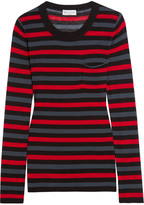 Sonia Rykiel Striped Cotton And Silk-blend Jersey Top - Red
