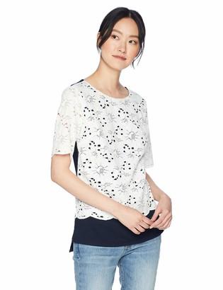 Jones New York Women's Lace Front Drop Shoulder Top