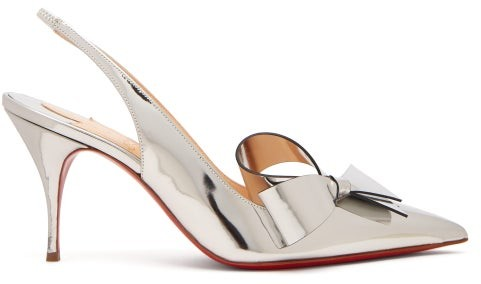 Christian Louboutin Clare Nodo 80 Bow Leather Slingback Pumps - Womens - Silver