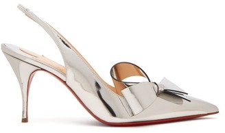 Christian Louboutin Clare Nodo 80 Bow Leather Slingback Pumps - Silver