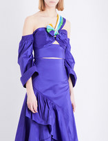 Peter Pilotto Off-the-shoulder taffeta cropped top