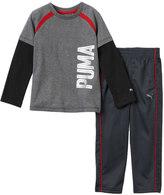 Puma Baby Boy Mock-Layer Logo Tee & Pants Set