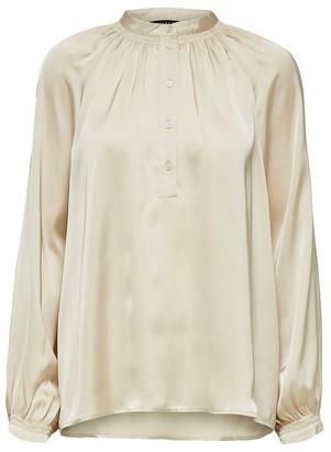 Selected Mandarin Collar Satin Shirt - 34