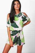 boohoo Janice Palm Print Cold Shoulder Playsuit green