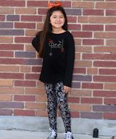 Beary Basics Black 'Boo' Tunic & Spiderweb Leggings - Toddler & Girls