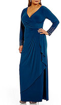 Alex Evenings Plus Surplice Beaded-Sleeve Draped Gown