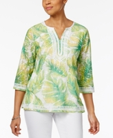 Alfred Dunner Petite Bahama Bays Embellished Printed Tunic
