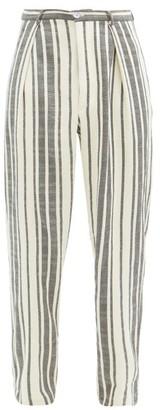 Marrakshi Life - Striped Cotton-canvas Straight-leg Trousers - Cream Multi