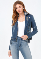 Bebe Jeweled Denim Moto Jacket