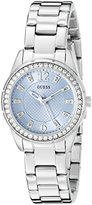 GUESS Women's U0445L5 Sporty Silver-Tone Watch with Blue Dial , Crystal-Accented Bezel and Stainless Steel Pilot Buckle