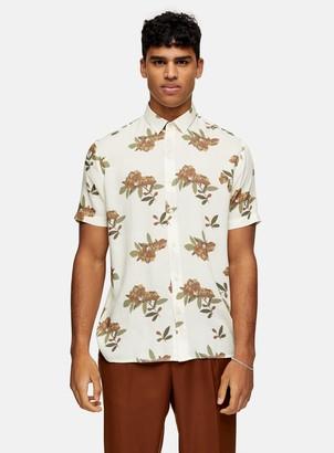 Topman CONSIDERED Ecru Blurred Floral Slim Shirt