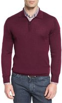 Brioni Cashmere-Silk Quarter-Zip Polo Sweater, Burgundy