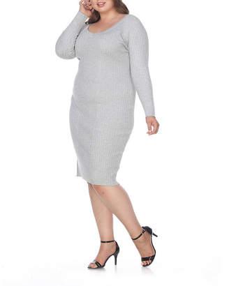 White Mark-Plus Long Sleeve Bodycon Dress