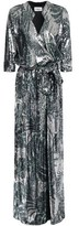 BA&SH Wrap-effect Printed Sequined Mesh Gown
