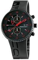 MOMO Design JET MD2198BK-02BKRD-RB 43mm Stainless Steel Case Black Rubber Mineral Men's & Women's Watch