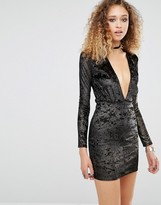 Motel Lynette Dress With Plunge Neck In Shimmer