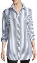 Go Silk Striped Cotton Big Shirt, Petite