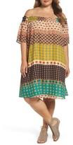Glamorous Plus Size Women's Print Off The Shoulder Shift Dress