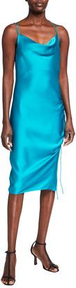 Parker Black Perla Cowl-Neck Midi Slip Dress