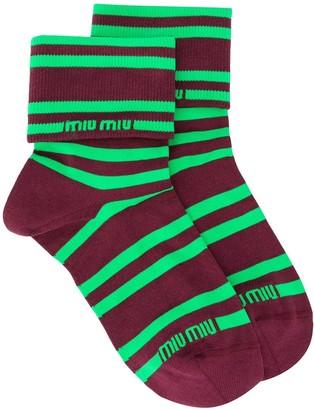 Miu Miu Striped Logo Socks