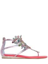Rene Caovilla 20mm Metallic Leather Jewel Sandals