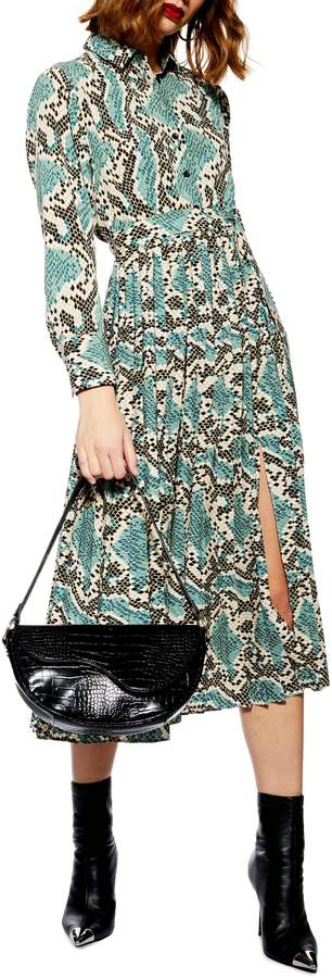 Topshop Python Pleated Shirtdress