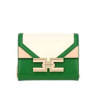 Elisabetta Franchi Mini Shoulder Bag In Leather With Maxi Logo