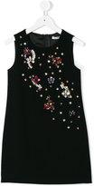 Dolce & Gabbana gem embellished shift dress - kids - Viscose/Acetate/Spandex/Elastane - 8 yrs