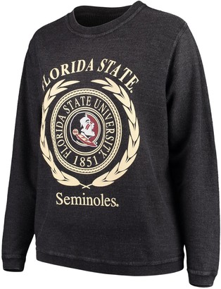 Women's Black Florida State Seminoles Plus Size Rally Enzyme Washed Corduroy Pullover Sweatshirt