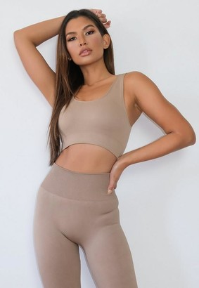 Missguided Brown Seamless Sports Bra