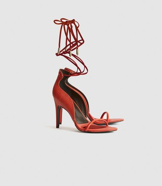 Reiss Coco - Leather Strappy Wrap Sandals in Orange