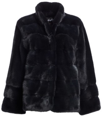 The Fur Salon Zandra Rhodes For Mink Stand Collar Coat