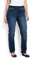 Lands' End Women's Plus Size Pull-on Straight Jeans-Rich Sapphire