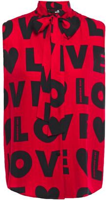 Love Moschino Pussy-bow Printed Herringbone Woven Top