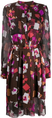 Talbot Runhof belted print short dress