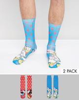 Asos Socks With Mickey & Minnie Print 2 Pack