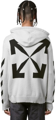 Off-White Diagonal Stripes Cotton Knit Hoodie