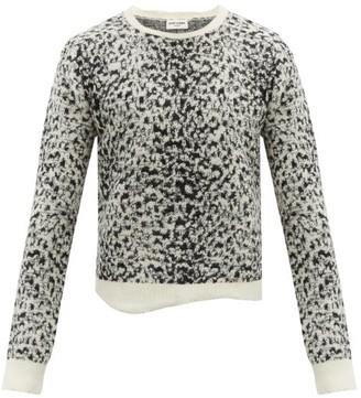 Saint Laurent Snow Leopard-jacquard Mohair-blend Sweater - Black White