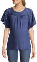 Three Seasons Maternity Short Sleeve Crochet Yoke Top - Maternity