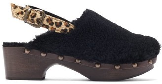 Avec Moderation - Ruka Shearling Slingback Clogs - Womens - Black