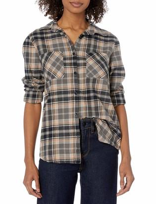 RVCA Junior's Aspen Long Sleeve Woven Button Front Flannel Shirt
